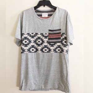 Grey Tee with Southwestern Detail On The Byas